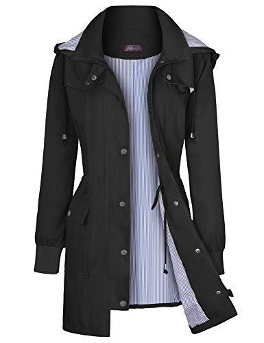 Bloggerlove Women Rain Jackets Hooded Lightweight Raincoat Outdoor Waterproof Windbreaker Black M
