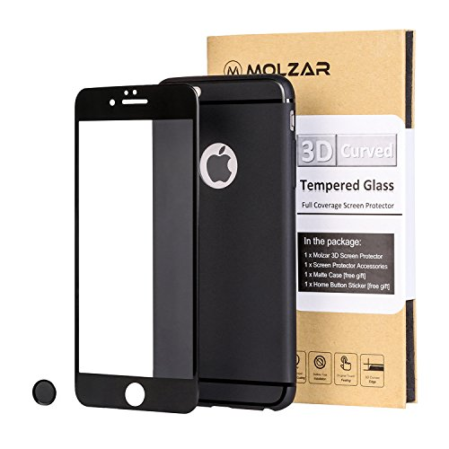 Home Matte (iPhone 6/6S Plus 3D Curved Full Coverage HD Crystal Clear Bubble Free Tempered Glass Screen Protector with Ultra-thin Matte TPU Case and Premium Home Button Sticker for iPhone 6/6S Plus [Black])
