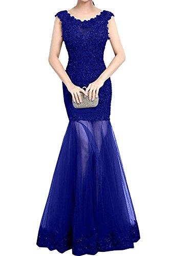 Spitze Royal Meerjungfrau Abendkleider Marie Blau Abschlussballkleider La Trumpet Braut 2018 Ballkleider Partykleider wq7vIa