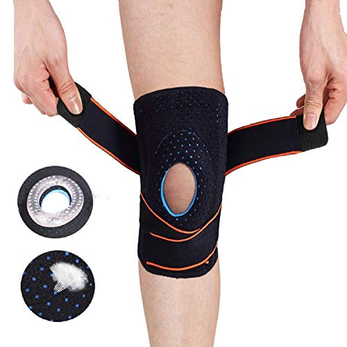 Professional Knee Brace Compression Sleeve – Adjustable Non-Slip Knee Braces for Men Women with Side Stabilizers & Gel Pad, Best Knee Support for Meniscus Tear, Arthritis, Pain Relief, Injury Recovery