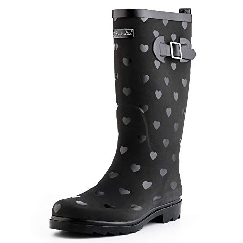 KomForme Women Fashion Rain Boots (Size 7, Heart)
