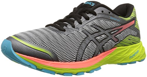 ASICS Women's Dynaflyte Running Shoe, Mid Grey/Flash Coral/Safety Yellow, 6 M US