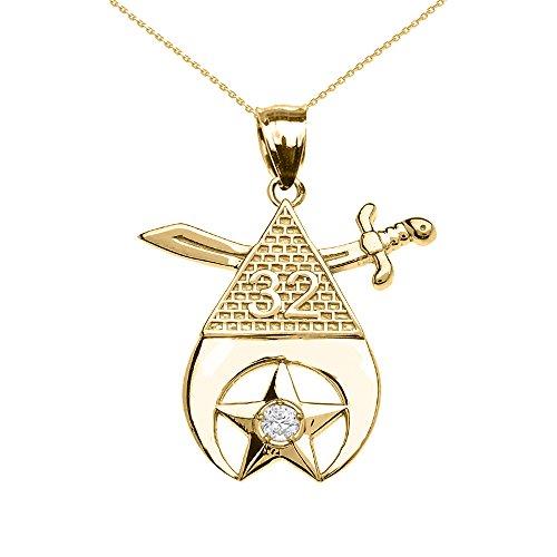Collier Femme Pendentif 10 Ct Or Jaune Shriners Franc Maçon Maçonnique Diamant (Livré avec une 45cm Chaîne)