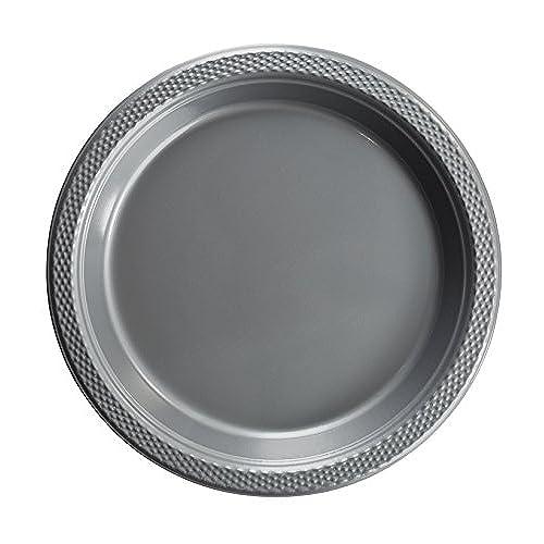 Exquisite 7 Inch. Silver Plastic Dessert/Salad Plates - Solid Color Disposable Plates - 100 Count  sc 1 st  Amazon.com & Bulk Silver Paper Plates: Amazon.com