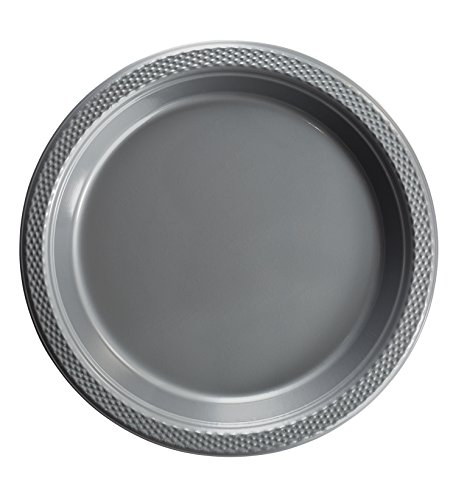 Exquisite 7 Inch. Silver Plastic Dessert/Salad Plates - Solid Color Disposable Plates - 50 Count