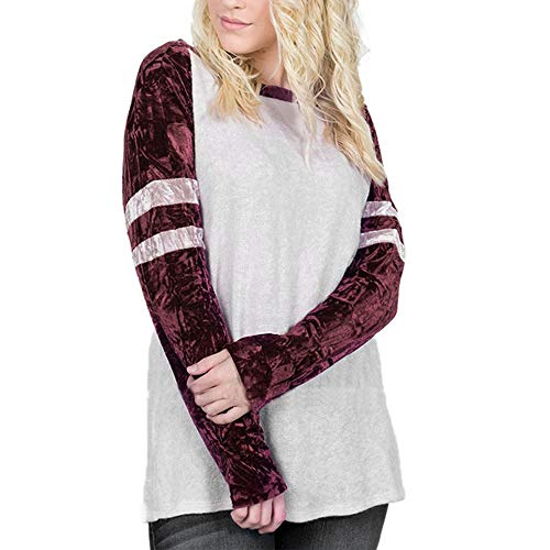 Femme Pull Angelof Wine Loose Rond Hiver Tops Rouge amp; Patchwork Longues L Manches Vetement 2018 Longues Chic Col EZZrwtqv