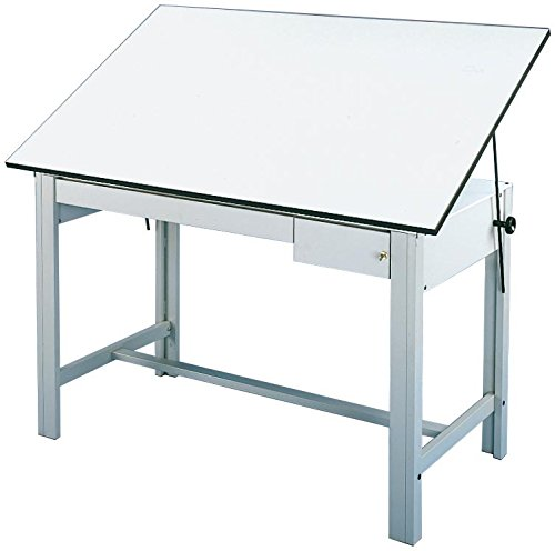 Alvin, DesignMaster Table, Gray Base White Top 2 Drawers, 37 inches x 37.5 inches x 72 inches by Alvin