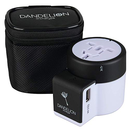 Dandelion Travel Adapter Outlet Adapter Traveler Accessory Universal Wall Charger 2 USB Ports (UK, USA, AU, Europe, Asia) International Power Plug Adaptor for Multiple Socket Type C, A, I, G (Black) (Cell Phone Business Opportunities In South Africa)