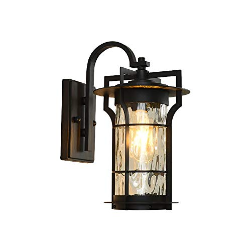 FTLY Creative Water Glass Wall Lanterns American Outdoor Waterproof Wall Sconce Simple Paint Pressed Cast Iron Anti-Corrosion Anti-Rust Wall Lamp E27 Courtyard Balcony Aisle Wall Light Black