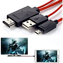 Candle2017 6.5 Feet 11 Pin Micro USB to HDMI Adapter Cable 1080P HDTV for Samsung Galaxy S5, S4, S3, Note 3, Note 2, Galaxy Tab 3 8.0, Tab 3 10.1, Tab Pro, Galaxy Note 8, Note Pro 12.2(NOT for Tab 3 7