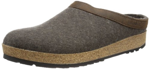 Haflinger Unisex GZL Leather Trim Grizzly Clog Smokey Brown