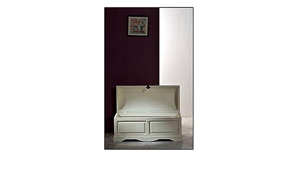 SIT-Möbel 6991 - 10 baúl Toledo, 100 x 44 x 50 cm con Marcas de Uso Fuertes, Mango y MDF, Color Blanco Antiguo: Amazon.es: Hogar