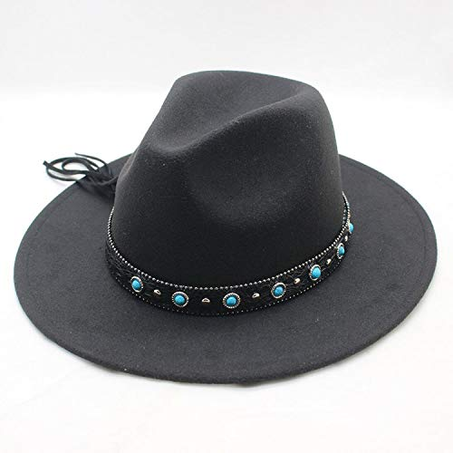 Trend Wool Felt Panama Hat Fedora Leather Band Blue Pearl Pattern Felt Hats Men -