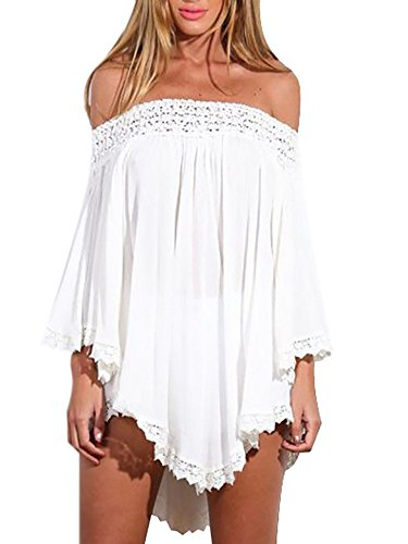 Persun White Off Shoulder Asymmetric Crochet Lace Dress-top White X-Large,White,X-Large,