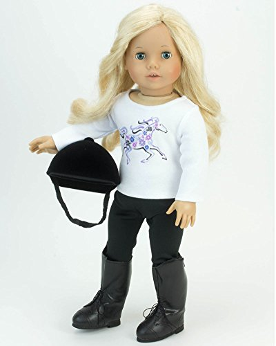 (18 Inch Doll 4 Pc. Riding Lesson Outfit Perfect for the American Horse Riding Girl! 18 Inch Doll Outfit Set of Graphic Horse Doll Tee, Leggings, Riding Boots & Helmet! 4pc Riding Outfit)
