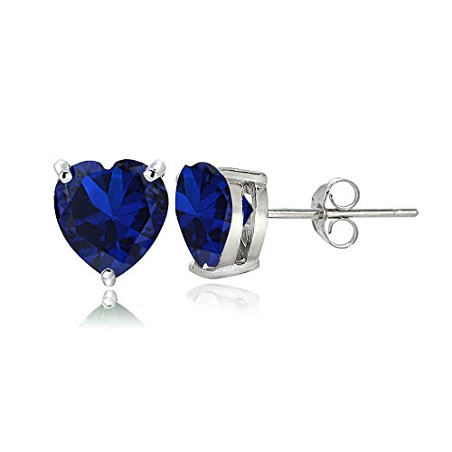 - Sterling Silver Created Blue Sapphire 6mm Heart Stud Earrings
