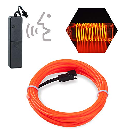 Sounds Control EL Wire,Lychee 9ft Neon Glowing Strobing Electroluminescent Light El Wire w/Battery Pack for Parties,Cosplay,Fashion Show,Night Light Halloween Christmas Decoration (Orange)