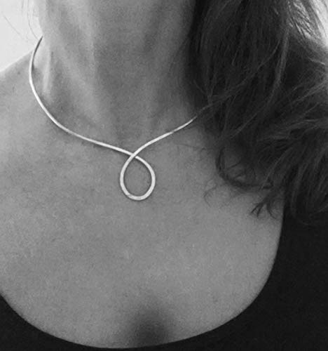 Silver Gold Copper Metal O Circle Choker Neck Cuff Collar Necklace Bridesmaid 7th 8th 25th Anniversary Christmas Gift for Her ()