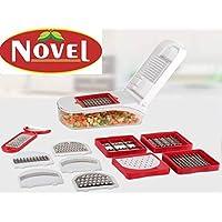 NOVEL Compact Vegetable & Fruit Chipser with 11 Blades + 1 Peeler, Vegetable Chopper, Vegetable Slicer (Red) (New Design)