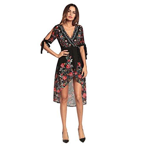 donna in vacanza a S Abiti XXL dimensioni chiffon V Boemia vestito XXL Sexy WANG casual irregolare Vestiti stampa scollo maniche estivi cinque da HInw5Pzxaq