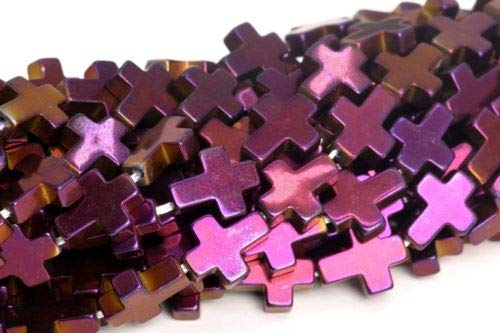- 10x8mm Purple Hematite Cross Grade Genuine Natural Loose Beads 15.5'' Crafting Key Chain Bracelet Necklace Jewelry Accessories Pendants