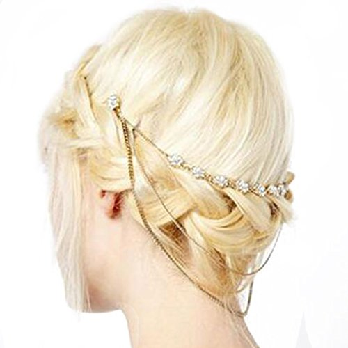 LittleB Pearl Rhinestone Hair Chain Flower Hair Comb for Women and Girls.
