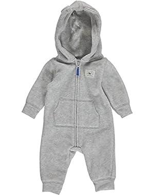 Carter's baby Boys Bear Hooded Microfleece Jumpsuit (Grey)