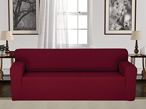 Settee Bed (Anti-Slip Jacquard 1-Piece Spandex Stretch Elastic Pet Dog Sofa Couch Cover Slipcover Non-Slip Arm-chair Love-Seat Furniture Protector Shield 1 2 3 Seater T Cushion L Shaped (Sofa - Burgundy))