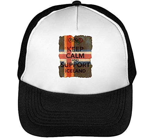 Negro Blanco Vintage Keep Gorras Beisbol Flag Calm Support Background Snapback Iceland Hombre pPaFP