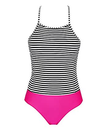 4e9af1c47622f stripsky High Neck Backless Tankini Swimsuit