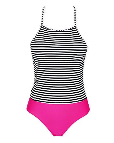 High Waisted Tankini Set, Stripe Two Tone Cross Back Swimsuit for Women, Black Red (Neck Tankini)