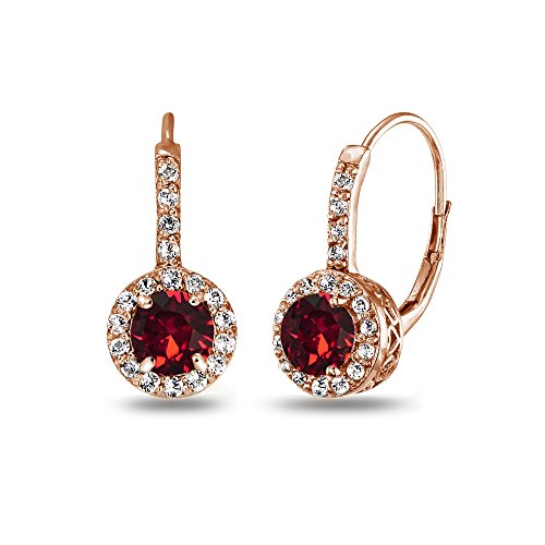 Rose Gold Flashed Sterling Silver Red Halo Leverback Drop Earrings created with Swarovski Crystals