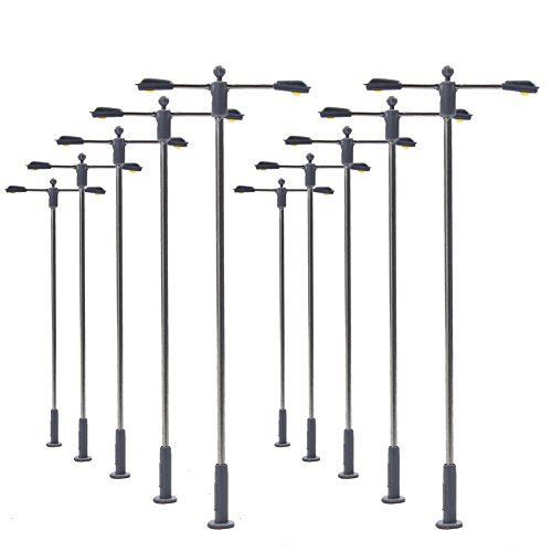 LQS11W 10pcs Model Railway Train Lamp Post Street Bright White Lights N TT Scale LEDs NEW