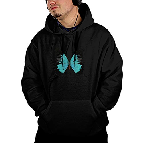 Black and Cyan Butterfly Female Hoodie Tracksuit Sweat Coat Casual Sportswear