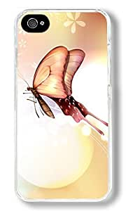 Butterfly Love Custom iPhone 4S Case Back Cover, Snap-on Shell Case Polycarbonate PC Plastic Hard Case Transparent