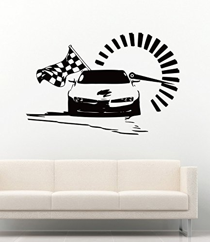 Cool Car Sport Race Man Flag Cave Garage Home Kids Room Wall Decals Vinyl Decor Stickers (F1 Racing Flags)