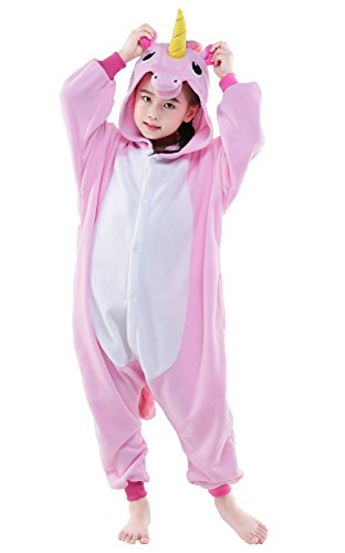 Newcosplay Children Unisex Unicorn Onesie Pajamas Costume (125#, New Pink Unicorn)