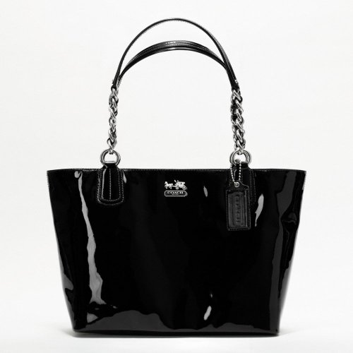 Coach Madison Patent Leather Zip Tote Handbag Purse 20484 Black, Bags Central
