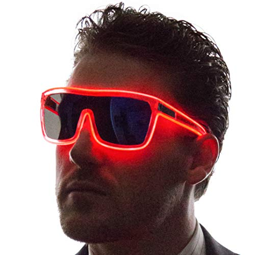 Neon Nightlife Red Frame/Tinted Single Lens Tron Style Light Up Glasses