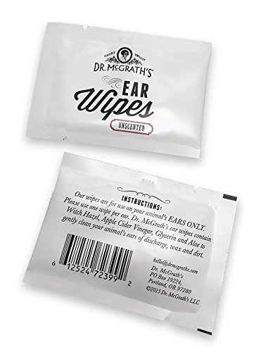 Dr. McGrath's Ear Wipes with Apple Cider Vinegar and Aloe for Dogs, Cats and Horses