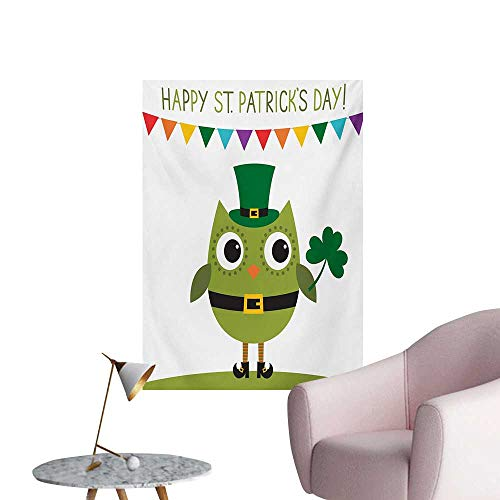 Anzhutwelve St. Patricks Day Wall Sticker Decals Owl with Leprechaun Costume Greeting Design for Party Shamrock PatternMulticolor W24 xL32 Cool -