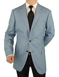 """<span class=""""a-offscreen"""">[Sponsored]</span>Platinum Men's Blazer Luxury Wool Silk 2 Button Jacket Sport Coat Light Blue"""