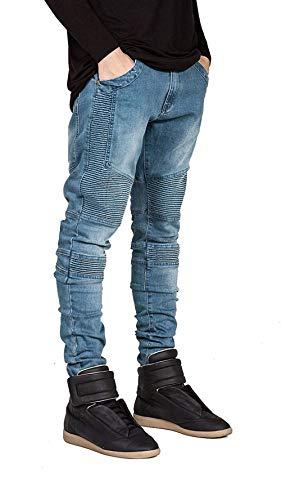 Denim Jeans Distrutti Stretch Blau Uomo Slim Biker Fit Da Skinny Strappati Retro Ragazzo ffr85xqBw