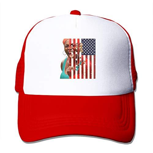 Serena-Williams-Adult-Grid Unisex Sunshade Hat Mesh Hat Snapback Cap. Red