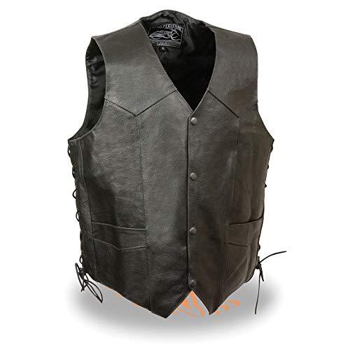 Vest Ride Lace - Event Leather-Men's Side Lace Live to Ride Vest w/Flying Eagle-BLACK-XL