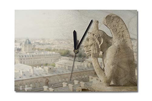 Lantern Press Gargoyle on Notre Dame, France Photography A-91332 (10x15 Wood Wall Clock, Decor Ready to Hang)