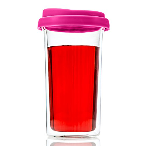 ug Cup Double Wall Insulated Borosilicate Glass Large 14 Ounces For To Go Coffee, Tea Hot Drinks Includes BPA-Free Silicon Travel Lid by Princeton Wares (Dark Pink) (Dark Pink Silicon Sleeve)