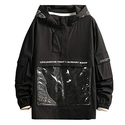 OPTIMIS Men's Waterproof Hooded Rain Jacket, Lightweight Raincoat for Outdoor, Camping, Travel Black (Whitetail Hawk)