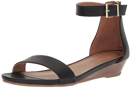 Kenneth Cole REACTION Women's Viber Ankle Strap Low Wedge Sandal, Black, 7 M US