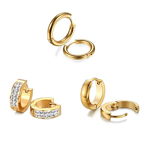 Gold Plated Stainless Steel Small Huggie Hoop Earrings for Men Women Pack of 3 Pairs